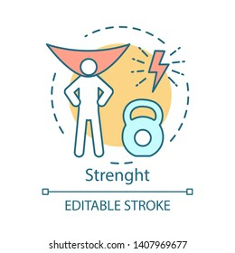 Strength concept icon. Superman lifting weight idea thin line illustration. Vector isolated outline drawing. Strong person, superpower, sport, willpower, bodybuilding. Editable stroke