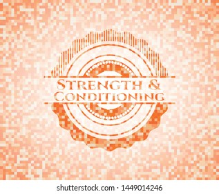 Strength and Conditioning abstract emblem, orange mosaic background