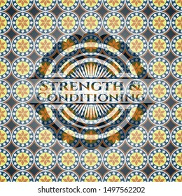 Strength and Conditioning arabesque emblem background. arabic decoration.