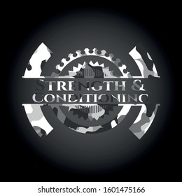 Strength and Conditioning grey camouflaged emblem. Vector Illustration.