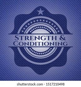 Strength and Conditioning jean or denim emblem or badge background. Vector Illustration. Detailed.