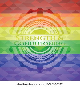 Strength and Conditioning lgbt colors emblem. Vector Illustration. Mosaic.