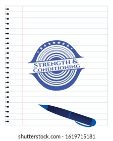 Strength and Conditioning pen draw. Blue ink. Vector Illustration. Detailed.