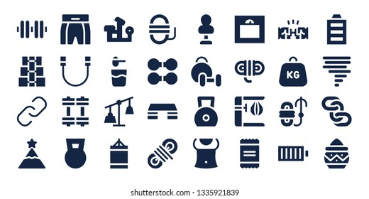 strength icon set. 32 filled strength icons. on blue background style Simple modern icons about  - Dumbbell, Hyperlink, Peak, Boxing shorts, Rope, Weights, Bench press, Powder