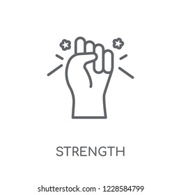 Strength linear icon. Modern outline Strength logo concept on white background from Startup Strategy and Success collection. Suitable for use on web apps, mobile apps and print media.