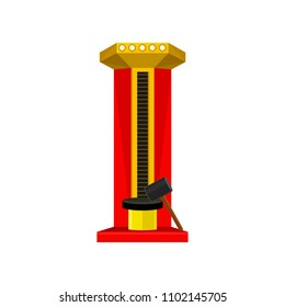 Strength tester or strongman game machine. High striker attraction with big hammer. Flat vector element for promo flyer or banner of amusement park