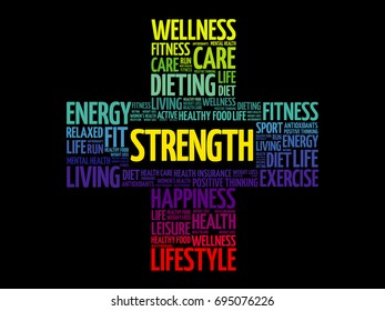 Strength word cloud collage, health cross concept