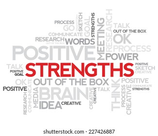 Strengths thinking info-text graphics and arrangement concept (word cloud)