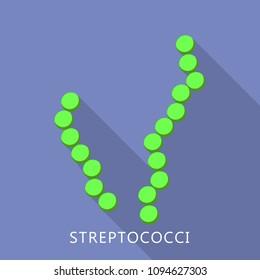 Streptococci icon. Flat illustration of streptococci vector icon for web design