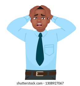 Stress and anxiety at work. An African American male office worker is alarmed. Headache. Problems in business. Vector illustration in cartoon style