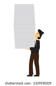 Stress businessman carry a lot of documents. Concept of overwork, office culture or corporate sabotage. Isolated vector illustration.