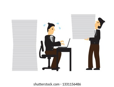 Stress businessmen working. Concept of overwork, office culture or corporate sabotage. Isolated vector illustration.