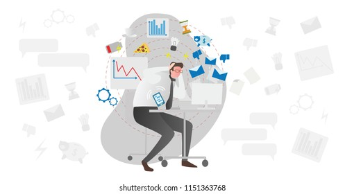 Stress causes vector illustration. Busy men in office with documents and computer stressing about low battery, deadlines, money, junk food, charts and indicators. Modern society problem in work or job