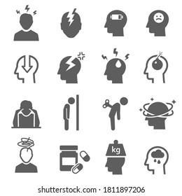 Stress, Depression fett schwarze Silhouette Symbole einzeln auf weiß. Nervenzusammenbrüche, Schwere, Piktogramme für Neurasthenie. Frustration. Kopfschmerz-Vektorelemente für Infografik, Web.