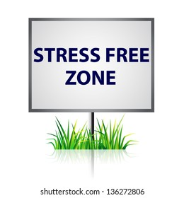 Stress free zone on white panel with grass
