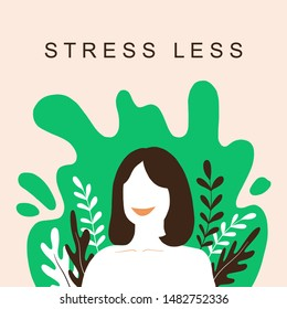 Stress less, Release your alarm with refreshing to nature. Psychology - Healthy happy Life, Emotional Balance, Cartoon Flat Vector Illustration with abstract smiling woman.