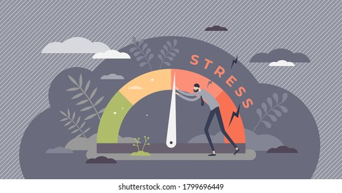 Stress level reduced with problem and pressure solving tiny persons concept. Tired from frustration employee in job vector illustration. Angry tension in business lifestyle. Emotional overload scene. - Shutterstock ID 1799696449