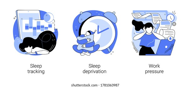 Stress management abstract concept vector illustration set. Sleep tracking and deprivation, work pressure, digital tracker, mental health, chronic anxiety, deadline pressure abstract metaphor.