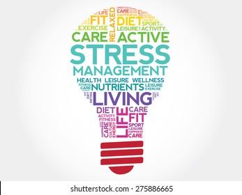 Stress Management bulb word cloud, health concept