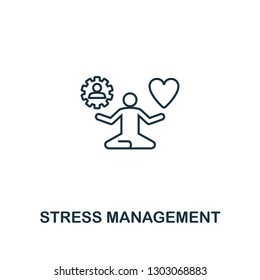 Stress Management icon. Thin outline creative Stress Management design from soft skills collection. Web design, apps, software and print usage.