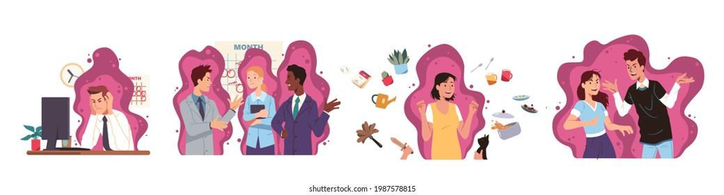 Stress negativen Emotionen manifestation Set. Arbeit, Büro, Haus, Beziehungsproblem, Konflikt. Wütende Leute kämpfen, streiten, streiten. Stresstes Paar, Team, Person-Konzept, Vektorgrafik