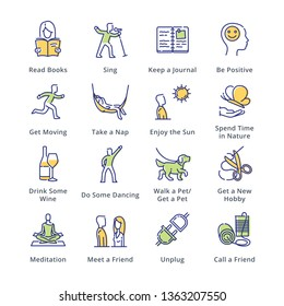 Stress Relievers Icons - Outline Series