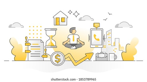 Stress resilience as calm business work balancing monocolor outline concept. Successful combine personal private life and professional job duties with meditative peaceful attitude vector illustration.