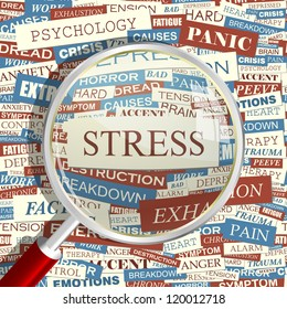 STRESS. Seamless vector pattern. Word collage. Vector illustration.