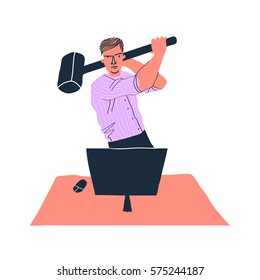 Stress situation concept. Creative vector illustration on background. Exasperated office worker. for web banners, web sites, printed materials, infographics. Creative vector illustration