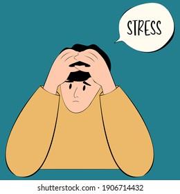 Stress Suffers crisis - Vector Stock Illustration
