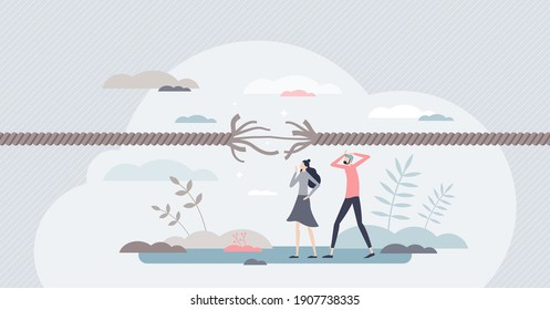 Stress tension and emotionally desperate mental pressure tiny person concept. Moment before psychological breaking point and burnout in feelings crisis vector illustration. Anxiety and despair scene.