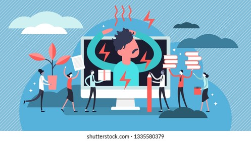 Stress vector illustration. Flat tiny office pressure work persons concept. Symbolic businessman emotional health problem. Tired, frustrated and angry employee lifestyle. Workplace multitasking panic.