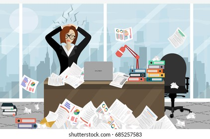 Stress at work concept flat illustration. Stressed out women in suit with glasses, in office at the desk. Modern design for web banners, web sites, printed materials, infographics. Flat vector.