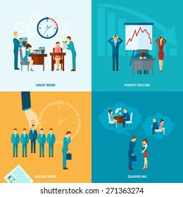 Stress at work design concept set with market decline frustration and depression flat icons isolated vector illustration