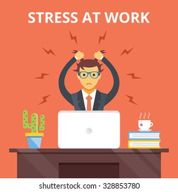 Stress at work. Stress situation concept. Man tearing his hair out. Modern flat design concepts for web banners, web sites, printed materials, infographics. Creative vector illustration