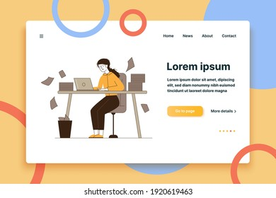 Stressed accountant working with stacks of reports. Employee with piles of documents holding head flat vector illustration. Paperwork, disarray concept for banner, website design or landing web page