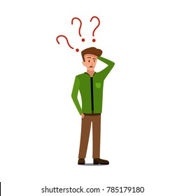 Stressed brown-haired guy has many questions in white bubble on dark turquoise background. Flat illustration of thinking person