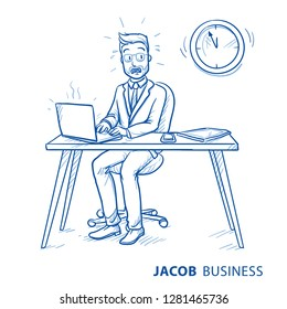 Stressed business man, employee at his desk with laptop, in panic due to lack of time. Concept for too mich work, hurry or time preassure.  Hand drawn line art cartoon vector illustration