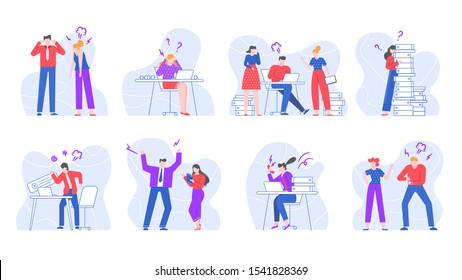 Stressed business people. Yelling and screaming office workers, swearing characters in office environment vector illustration set. Conflicts and disputes at workplace isolated on white background