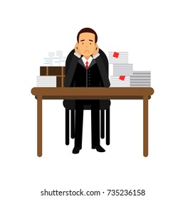 Stressed businessman character has a lot of work, overloaded office worker, business and financial failure, economic crisis vector Illustration