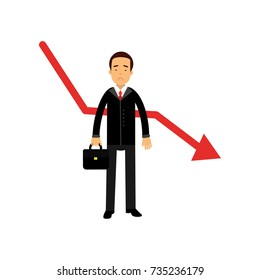Stressed businessman character standing next to red graph going down, bad sales, business and financial failure, economic crisis vector Illustration