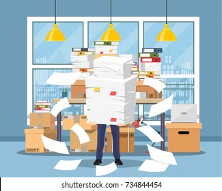 Stressed businessman holds pile of office papers and documents. Office documents heap. Routine, bureaucracy, big data, paperwork, office. Vector illustration in flat style