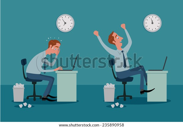 Stressed businessman on laptop computer working with pressure, and be happy.