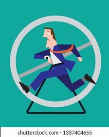 Stressed businessman running late on hamster wheel