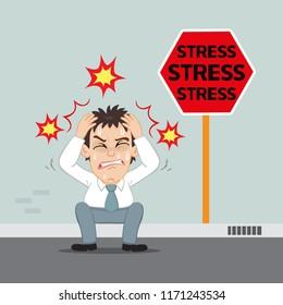 Stressed businessman sitting on the walkway, illustration vector cartoon