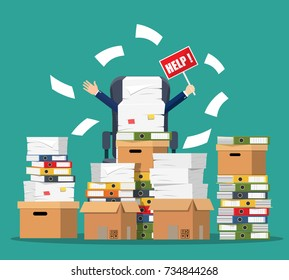 Stressed cartoon businessman in pile of office papers and documents with help sign. Stress at work. Overworked. Bureaucracy, paperwork. Vector illustration in flat style