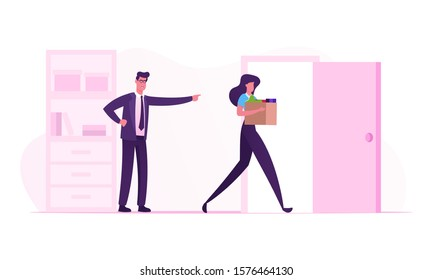 Stressed Employee Intern Suffering From Gender Discrimination or Unfair Criticism of Angry Male Boss Shouting Scolding Firing Female Worker for Incompetence in Office. Cartoon Flat Vector Illustration