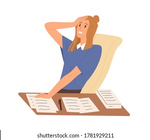 Stressed female worried about paperwork sitting at desk vector flat illustration. Frustrated woman make mistake in documents isolated. Nervous office worker having problem or misunderstanding
