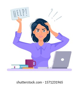 Stressed and frustrated business woman asking for help at work. Cartoon vector