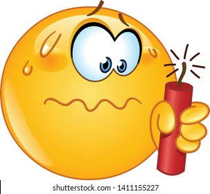 Stressed or hesitating emoji emoticon while holding a dynamite